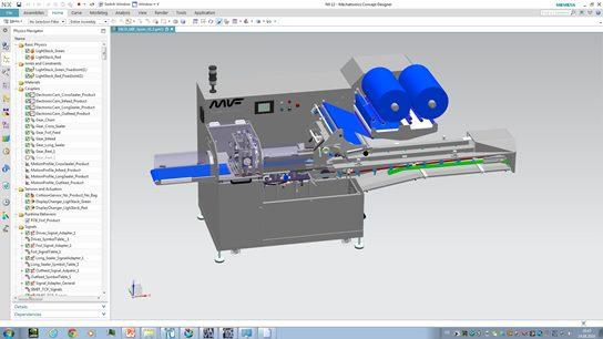 Basierend auf den kinematisierten Maschinenkonstruktionsdaten wurde die Simulation im Mechatronics Concept Designer (MCD) projektiert