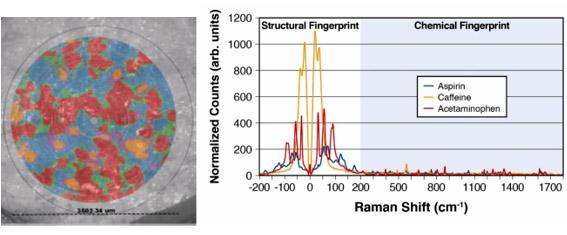 """Abb. 4: Mapping einer Excedrin-Tablette mit 27.000 spektralen Datenpunkten, gemessen über einen Durchmesser von 3,5 mm der Tablette in 9 min. Das Raman-Bild zeigt die verschiedenen Komponenten und wurde zur Visualisierung über das polarisierte Lichtmikroskopbild gelegt. Die Spektren rechts demonstrieren die Signalunterschiede in der """"Strukturellen Fingerprint""""-Region."""