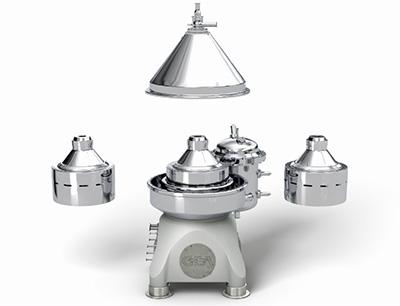 GEA flexChange Konzept: Die Trommeln dieser Separatoren können auf dem standardmäßig verbauten integrierten Direktantrieb ohne aufwändige bauliche Änderung einfach und schnell ausgetauscht werden.