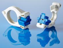 Einhändig und ohne Werkzeug zu bedienende, sterile Tri-Clamp-Verbindungsklemme