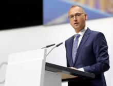 Werner Baumann, Vorstandsvorsitzender der Bayer AG, bei seiner Rede anlässlich der Hauptversammlung 2019 vor den Aktionären